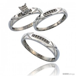 Sterling Silver Diamond Trio Wedding Ring Set His 4mm & Hers 3.5mm Rhodium finish