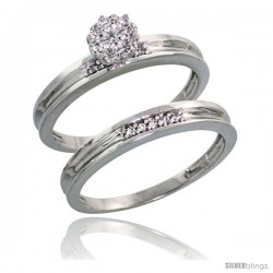 Sterling Silver Ladies' 2-Piece Diamond Engagement Wedding Ring Set Rhodium finish, 1/8 in wide -Style Ag004e2
