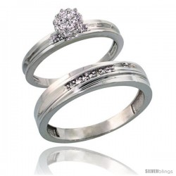 Sterling Silver 2-Piece Diamond wedding Engagement Ring Set for Him & Her Rhodium finish, 3mm & 5mm wide