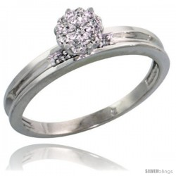 Sterling Silver Diamond Engagement Ring Rhodium finish, 1/8 in wide -Style Ag004er
