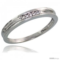 Sterling Silver Ladies' Diamond Wedding Band Rhodium finish, 1/8 in wide -Style Ag004lb