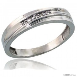 Sterling Silver Men's Diamond Wedding Band Rhodium finish, 3/16 in wide -Style Ag004mb
