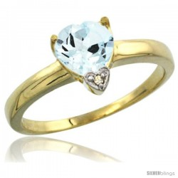 14K Yellow Gold Natural Aquamarine Heart-shape 7x7 Stone Diamond Accent