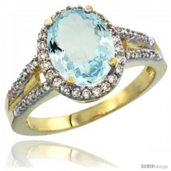 14k Yellow Gold Ladies Natural Aquamarine Ring oval 10x8 Stone Diamond Accent