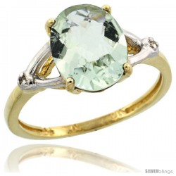 10k Yellow Gold Diamond Green-Amethyst Ring 2.4 ct Oval Stone 10x8 mm, 3/8 in wide