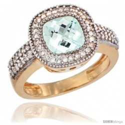 14k Yellow Gold Ladies Natural Aquamarine Ring Cushion-cut 3.5 ct. 8x8 Stone Diamond Accent