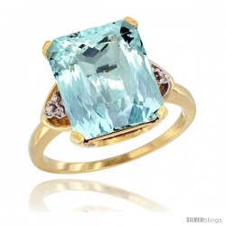 14k Yellow Gold Ladies Natural Aquamarine Ring Emerald-shape 12x10 Stone Diamond Accent