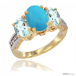 14K Yellow Gold Ladies 3-Stone Oval Natural Turquoise Ring with Aquamarine Sides Diamond Accent