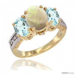 14K Yellow Gold Ladies 3-Stone Oval Natural Opal Ring with Aquamarine Sides Diamond Accent