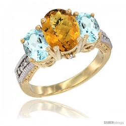 14K Yellow Gold Ladies 3-Stone Oval Natural Whisky Quartz Ring with Aquamarine Sides Diamond Accent