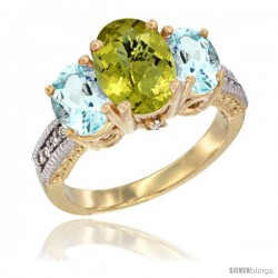14K Yellow Gold Ladies 3-Stone Oval Natural Lemon Quartz Ring with Aquamarine Sides Diamond Accent