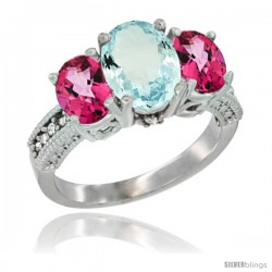 14K White Gold Ladies 3-Stone Oval Natural Aquamarine Ring with Pink Topaz Sides Diamond Accent