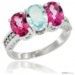 14K White Gold Natural Aquamarine & Pink Topaz Sides Ring 3-Stone 7x5 mm Oval Diamond Accent