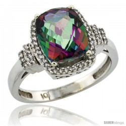 10k White Gold Diamond Halo Mystic Topaz Ring 2.4 ct Cushion Cut 9x7 mm, 1/2 in wide