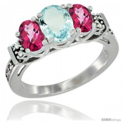 14K White Gold Natural Aquamarine & Pink Topaz Ring 3-Stone Oval with Diamond Accent