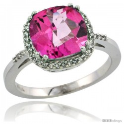 14k White Gold Diamond Pink Topaz Ring 3.05 ct Cushion Cut 9x9 mm, 1/2 in wide