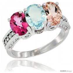 14K White Gold Natural Pink Topaz, Aquamarine & Morganite Ring 3-Stone 7x5 mm Oval Diamond Accent