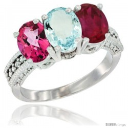 14K White Gold Natural Pink Topaz, Aquamarine & Ruby Ring 3-Stone 7x5 mm Oval Diamond Accent