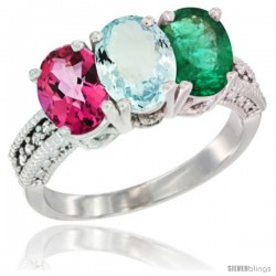14K White Gold Natural Pink Topaz, Aquamarine & Emerald Ring 3-Stone 7x5 mm Oval Diamond Accent