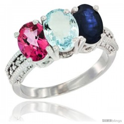 14K White Gold Natural Pink Topaz, Aquamarine & Blue Sapphire Ring 3-Stone 7x5 mm Oval Diamond Accent