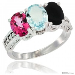 14K White Gold Natural Pink Topaz, Aquamarine & Black Onyx Ring 3-Stone 7x5 mm Oval Diamond Accent