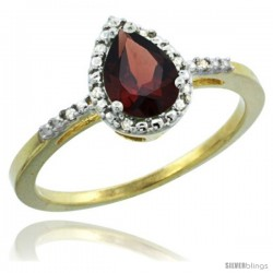 10k Yellow Gold Diamond Garnet Ring 0.59 ct Tear Drop 7x5 Stone 3/8 in wide