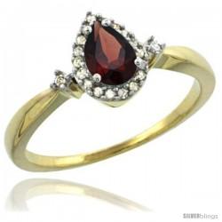 10k Yellow Gold Diamond Garnet Ring 0.33 ct Tear Drop 6x4 Stone 3/8 in wide
