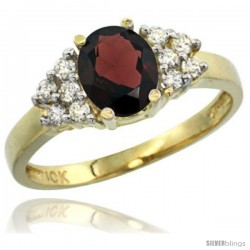 10k Yellow Gold Ladies Natural Garnet Ring oval 8x6 Stone