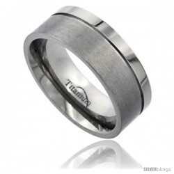 Titanium 8mm Flat Wedding Band Ring Matte Finish one Polished Grooved Squared Edge Comfort-fit