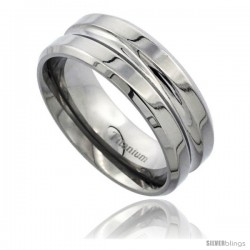 Titanium 8mm Flat Wedding Band Ring Deep Groove Center Beveled Edges Polished Finish Comfort-fit