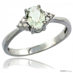 10K White Gold Natural Green Amethyst Ring Oval 7x5 Stone Diamond Accent