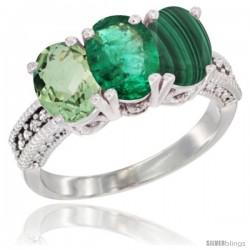10K White Gold Natural Green Amethyst, Emerald & Malachite Ring 3-Stone Oval 7x5 mm Diamond Accent