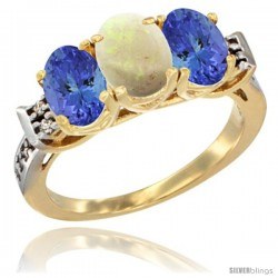 10K Yellow Gold Natural Opal & Tanzanite Sides Ring 3-Stone Oval 7x5 mm Diamond Accent