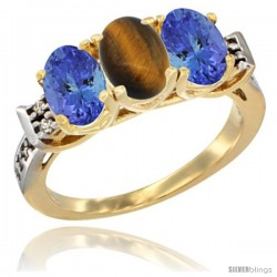10K Yellow Gold Natural Tiger Eye & Tanzanite Sides Ring 3-Stone Oval 7x5 mm Diamond Accent