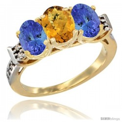 10K Yellow Gold Natural Whisky Quartz & Tanzanite Sides Ring 3-Stone Oval 7x5 mm Diamond Accent
