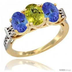 10K Yellow Gold Natural Lemon Quartz & Tanzanite Sides Ring 3-Stone Oval 7x5 mm Diamond Accent