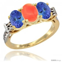 10K Yellow Gold Natural Coral & Tanzanite Sides Ring 3-Stone Oval 7x5 mm Diamond Accent