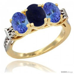 10K Yellow Gold Natural Lapis & Tanzanite Sides Ring 3-Stone Oval 7x5 mm Diamond Accent