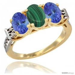 10K Yellow Gold Natural Malachite & Tanzanite Sides Ring 3-Stone Oval 7x5 mm Diamond Accent