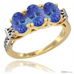 10K Yellow Gold Natural Tanzanite Ring 3-Stone Oval 7x5 mm Diamond Accent