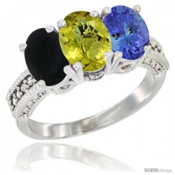 14K White Gold Natural Black Onyx, Lemon Quartz & Tanzanite Ring 3-Stone 7x5 mm Oval Diamond Accent