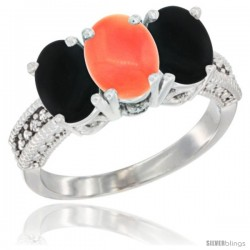 14K White Gold Natural Coral & Black Onyx Sides Ring 3-Stone 7x5 mm Oval Diamond Accent