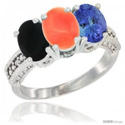 14K White Gold Natural Black Onyx, Coral & Tanzanite Ring 3-Stone 7x5 mm Oval Diamond Accent