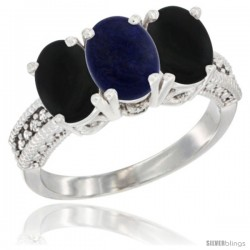 14K White Gold Natural Lapis & Black Onyx Sides Ring 3-Stone 7x5 mm Oval Diamond Accent