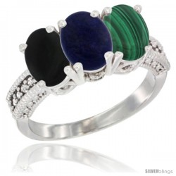 14K White Gold Natural Black Onyx, Lapis & Malachite Ring 3-Stone 7x5 mm Oval Diamond Accent