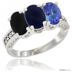 14K White Gold Natural Black Onyx, Lapis & Tanzanite Ring 3-Stone 7x5 mm Oval Diamond Accent