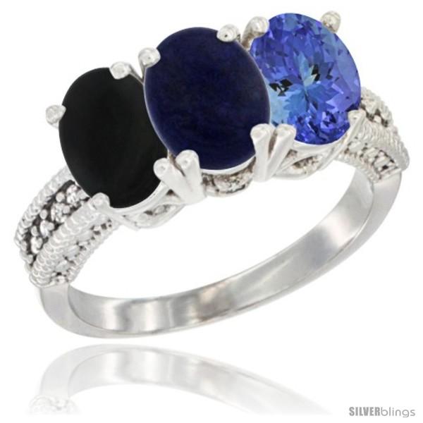 https://www.silverblings.com/52624-thickbox_default/14k-white-gold-natural-black-onyx-lapis-tanzanite-ring-3-stone-7x5-mm-oval-diamond-accent.jpg