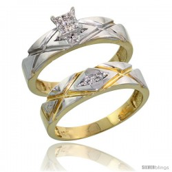 10k Yellow Gold Diamond Engagement Rings Set 2-Piece 0.08 cttw Brilliant Cut, 3/16 in wide