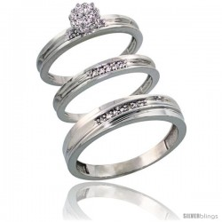 Sterling Silver Diamond Trio Wedding Ring Set His 5mm & Hers 3mm Rhodium finish