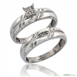 Sterling Silver Ladies' 2-Piece Diamond Engagement Wedding Ring Set Rhodium finish, 7/32 in wide -Style Ag005e2